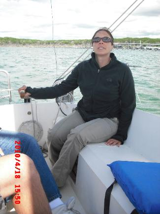 Heather at the helm