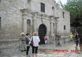 Front of the Alamo before Battle of Flowers Parade, April 23, 2010