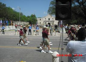 One of the bands participating in the Battle of Flowers Parade